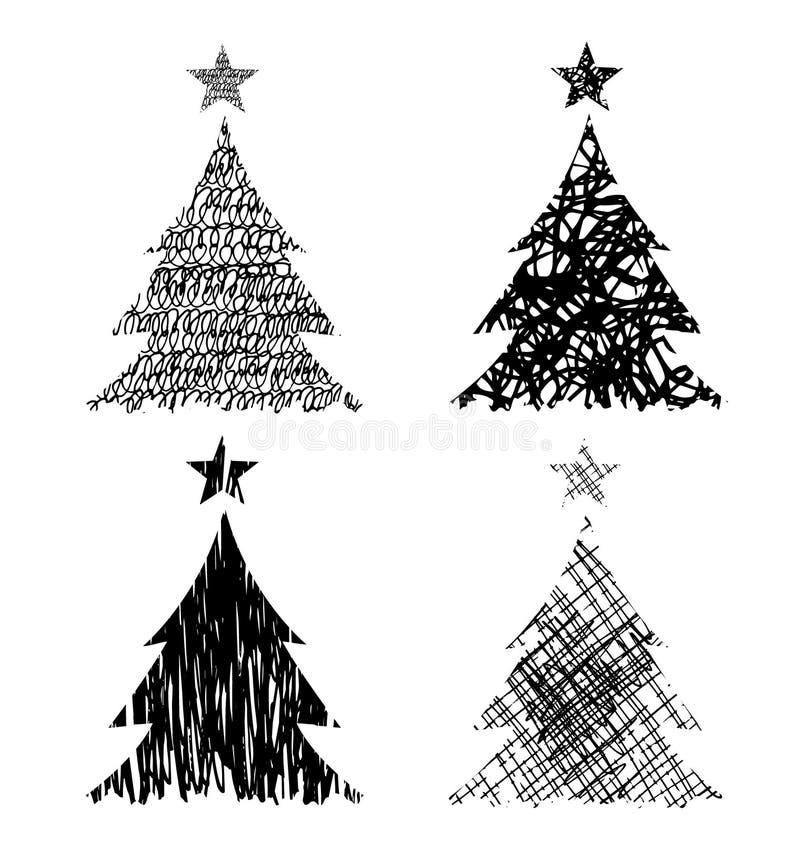 Kerstbomen met tekeningsstructuur stock illustratie