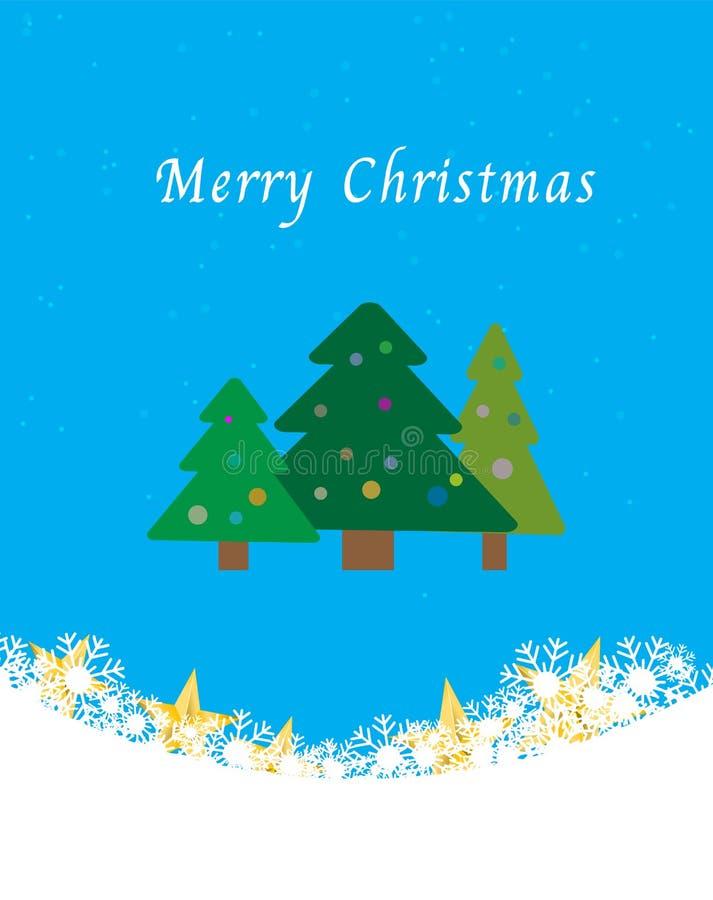 Kerstbomen op blauwe achtergrond met sneeuw stock illustratie
