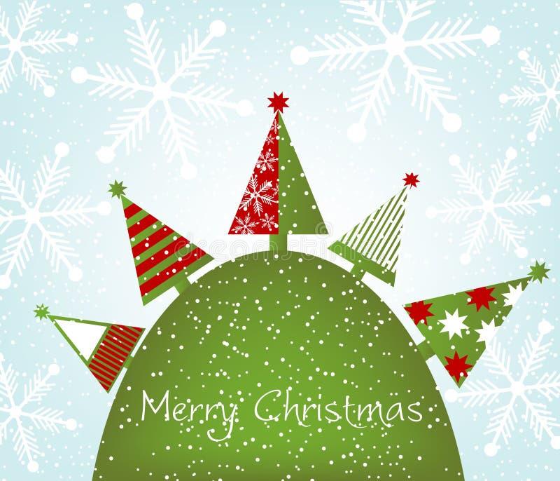 Kerstbomen op de heuvel vector illustratie