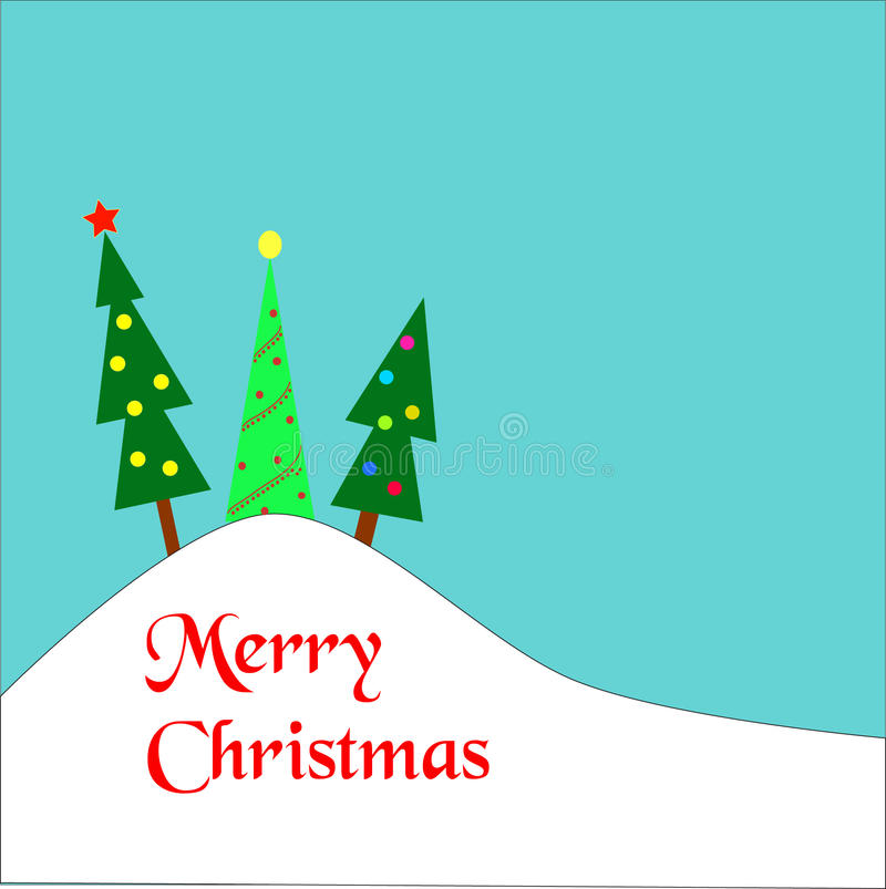 Kerstbomen op een heuvel royalty-vrije illustratie