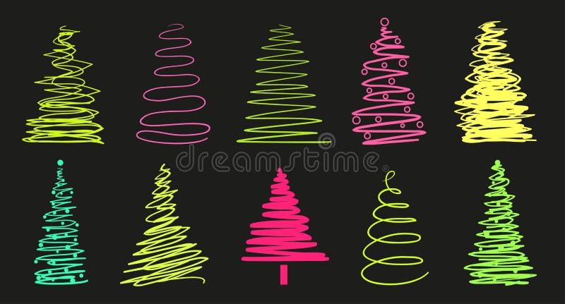 Kerstbomen op zwarte royalty-vrije illustratie