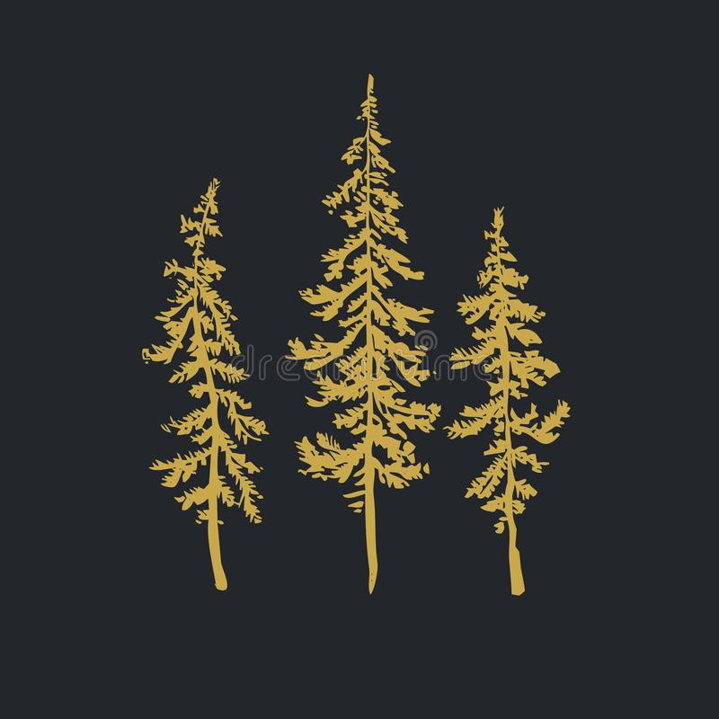 Kerstbomen realistische hand getrokken vectordiereeks, over wit wordt geïsoleerd royalty-vrije illustratie