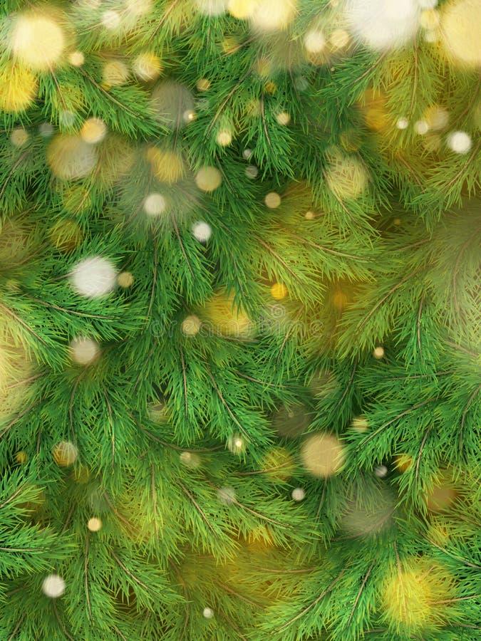 Kerstboom achtergronddecoratie met vaag, het vonken, het gloeien licht Gelukkig Nieuwjaarmalplaatje Eps 10 stock illustratie