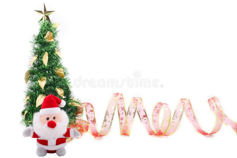 Kerstboom & Rood Lint stock fotografie