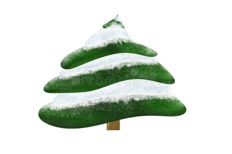 Kerstboom behandelde sneeuw in de geïsoleerde winter, vector illustratie