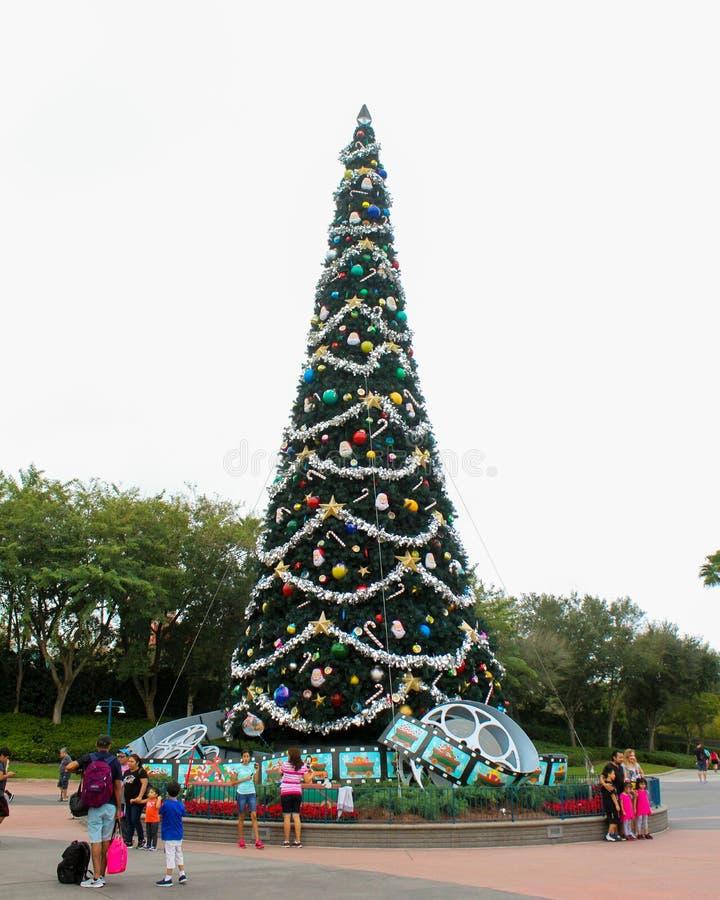 Kerstboom bij Hollywood-Studio's, Orlando, FL stock fotografie