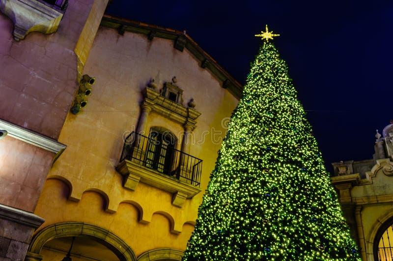 Kerstboom bij Nacht royalty-vrije stock fotografie