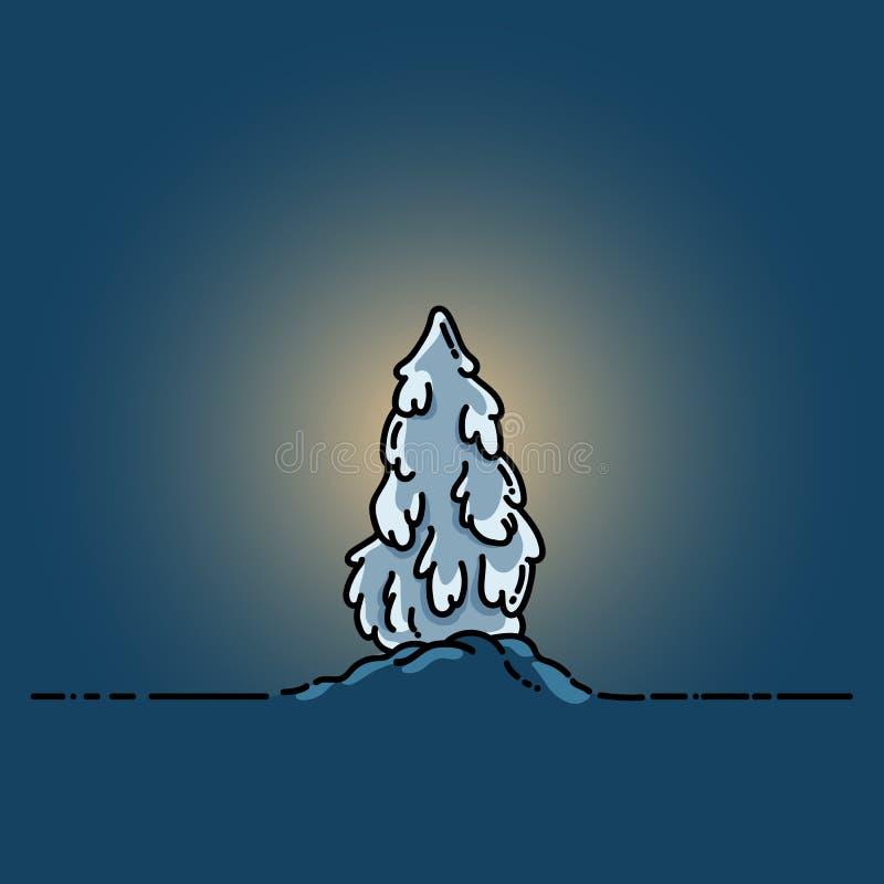 Kerstboom bij nacht Vlak kleurrijk beeld vector illustratie
