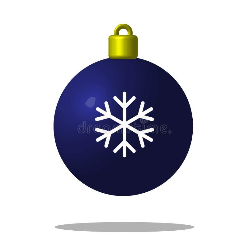 Kerstboom blauwe bal met sneeuwvlok Kerstmisstuk speelgoed editable stock illustratie