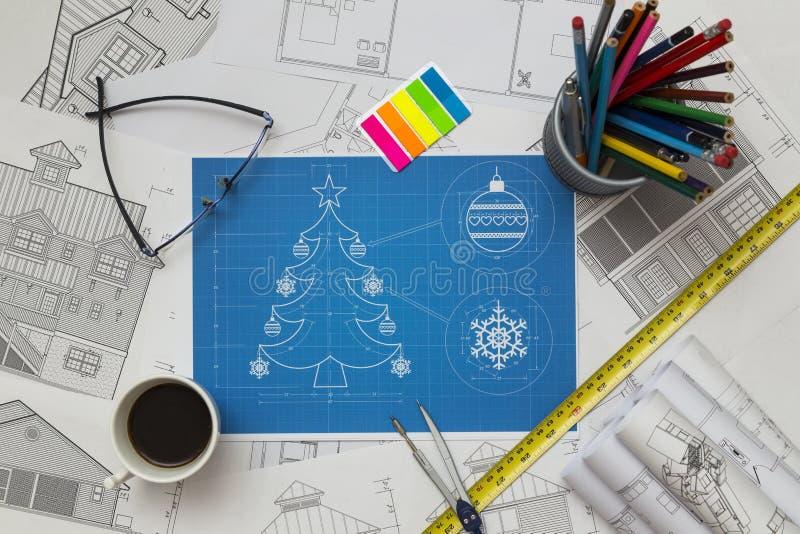 Kerstboom Bluerpint royalty-vrije stock afbeelding