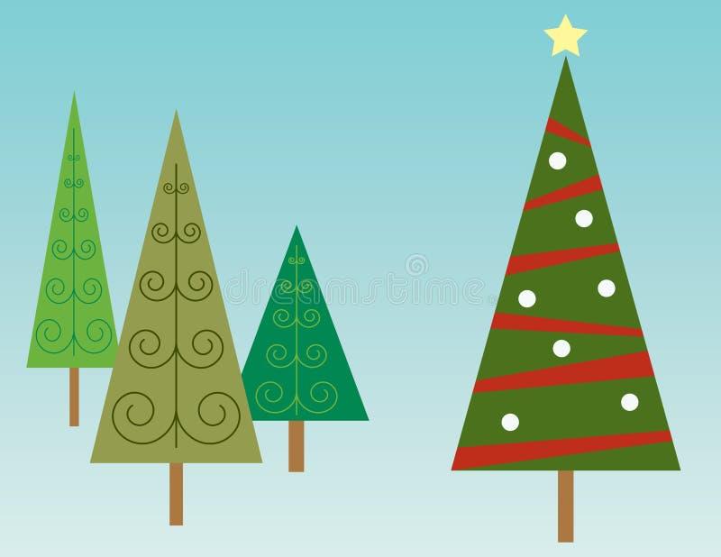 Kerstboom in Bos stock illustratie