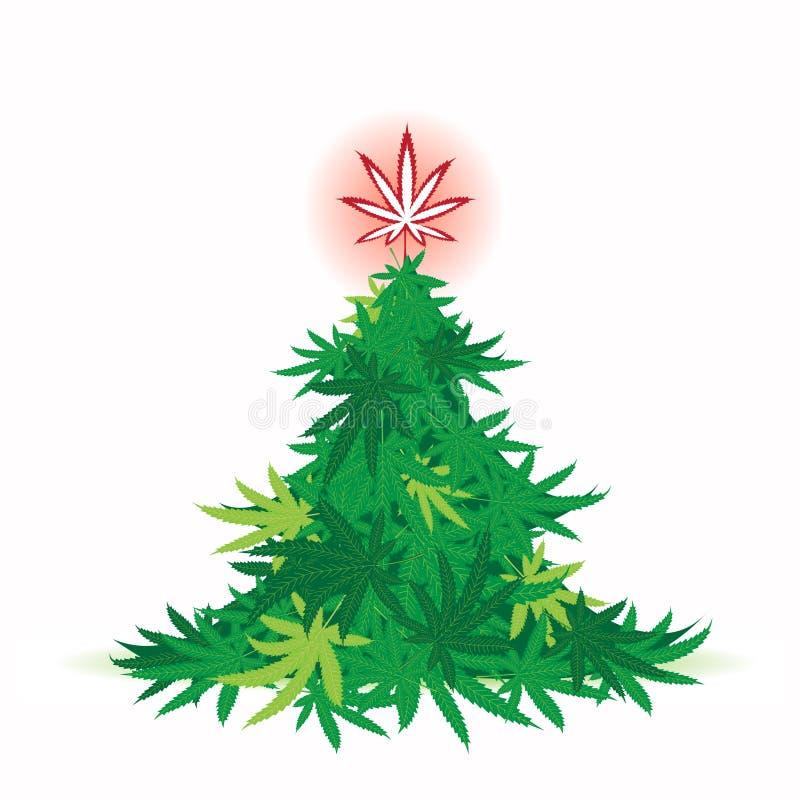 Kerstboom, cannabisblad royalty-vrije illustratie