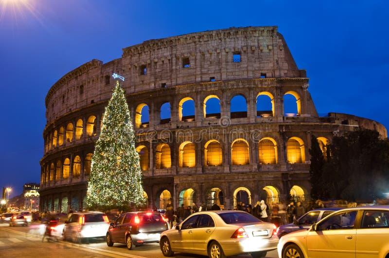 Kerstboom in Coliseum in de nacht royalty-vrije stock afbeeldingen