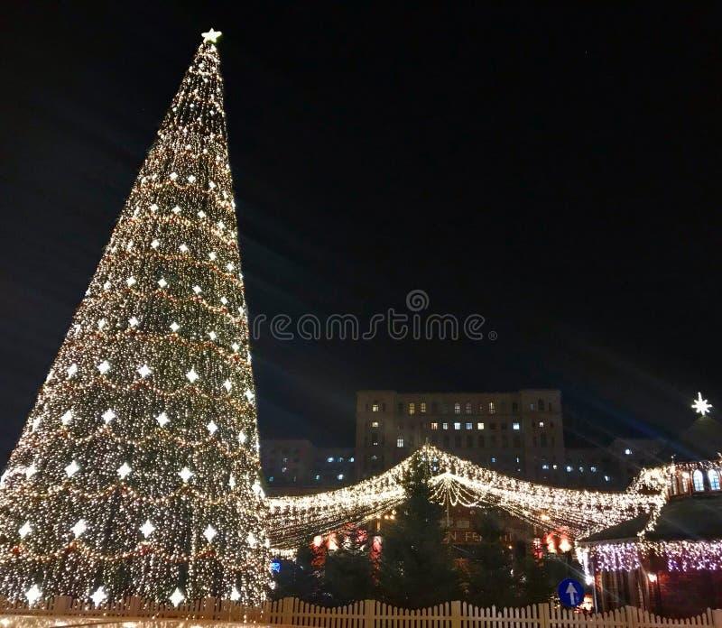 Kerstboom in de markt royalty-vrije stock afbeelding