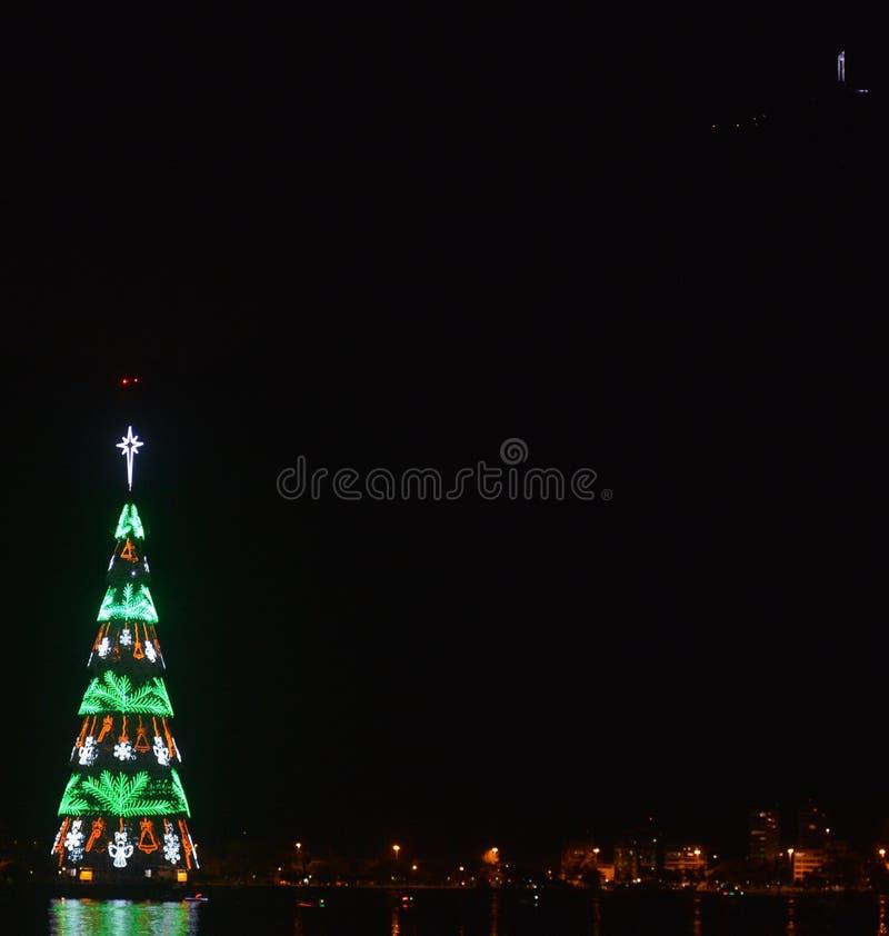 Kerstboom in de stad van Rio de Janeiro royalty-vrije stock afbeelding