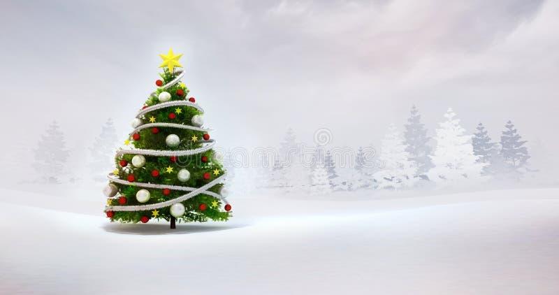 Kerstboom in de winter natuurlijk seizoengebonden landschap royalty-vrije stock foto's