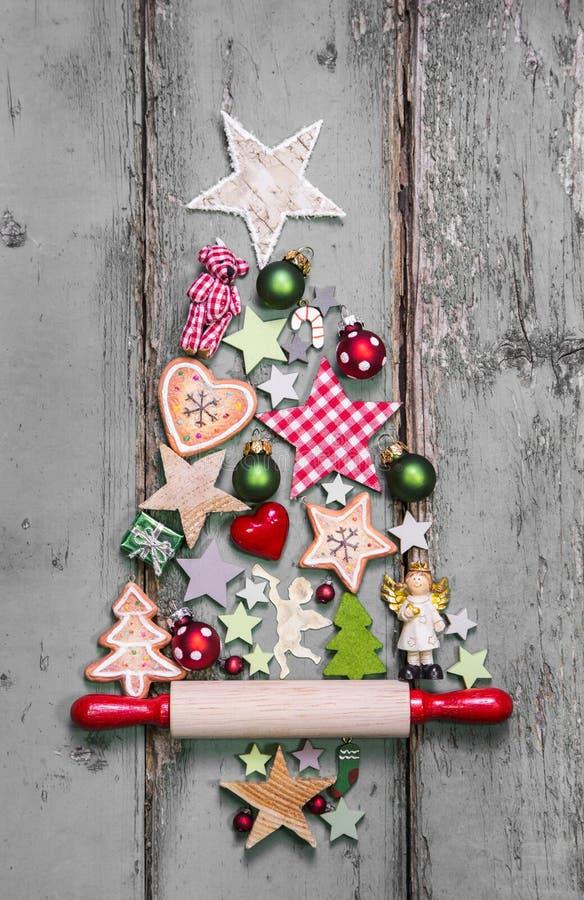 Kerstboom - decoratie in sjofele elegante stijl - een idee voor a royalty-vrije stock foto's