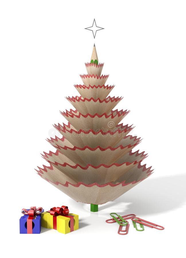 Kerstboom die met een potlood wordt gemaakt royalty-vrije illustratie