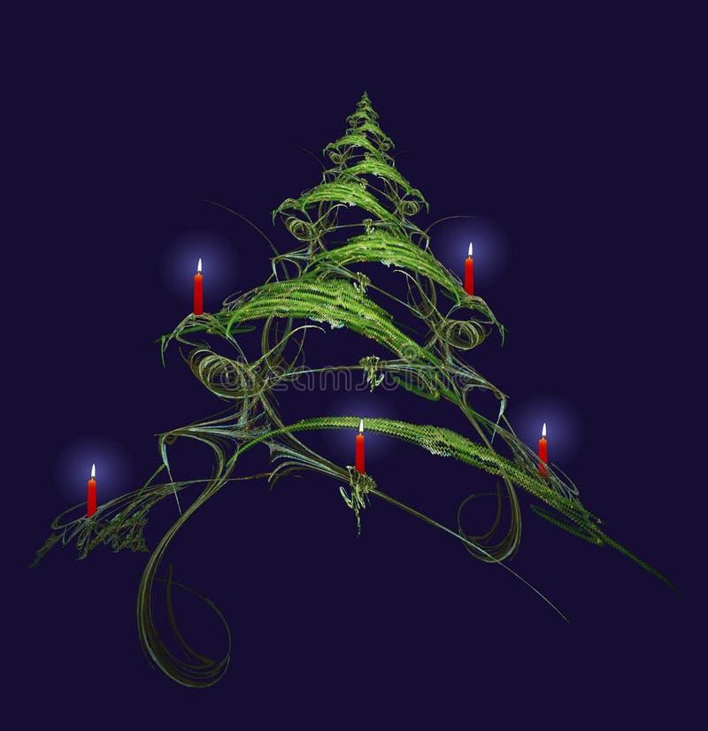 Kerstboom die met Kaarsen wordt verfraaid royalty-vrije illustratie