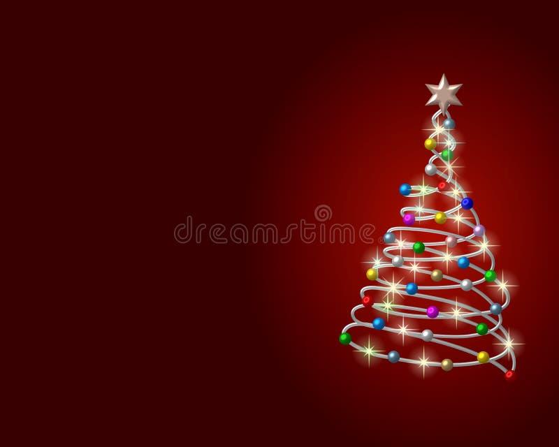 Kerstboom die op rood wordt geïsoleerdi vector illustratie