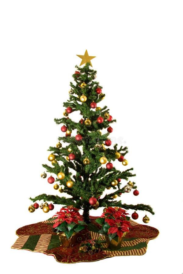 Kerstboom die op witte achtergrond wordt geïsoleerdn royalty-vrije stock afbeeldingen