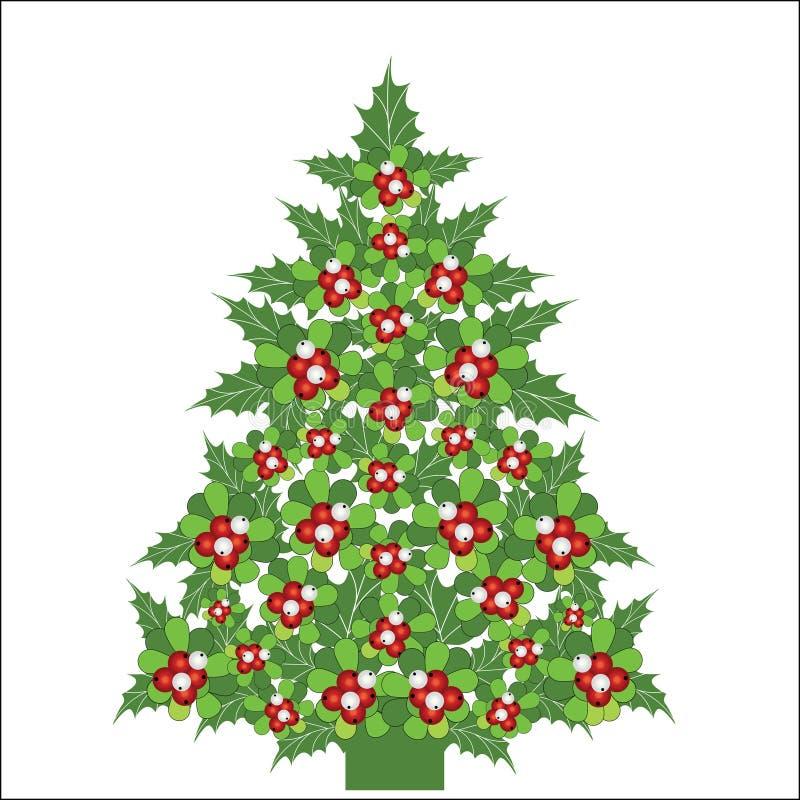 Kerstboom die van Maretak en hulst wordt gemaakt royalty-vrije illustratie