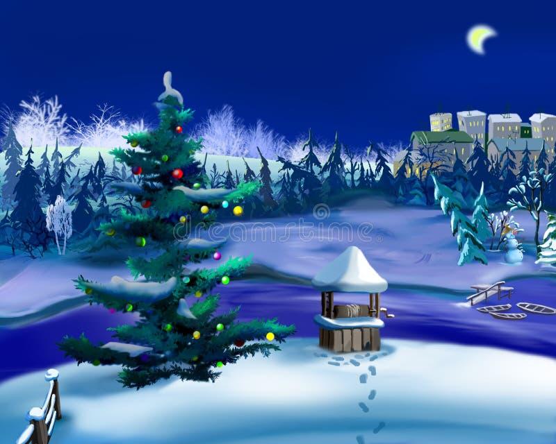 Kerstboom in een de Winternacht Nieuwjaarscène royalty-vrije illustratie