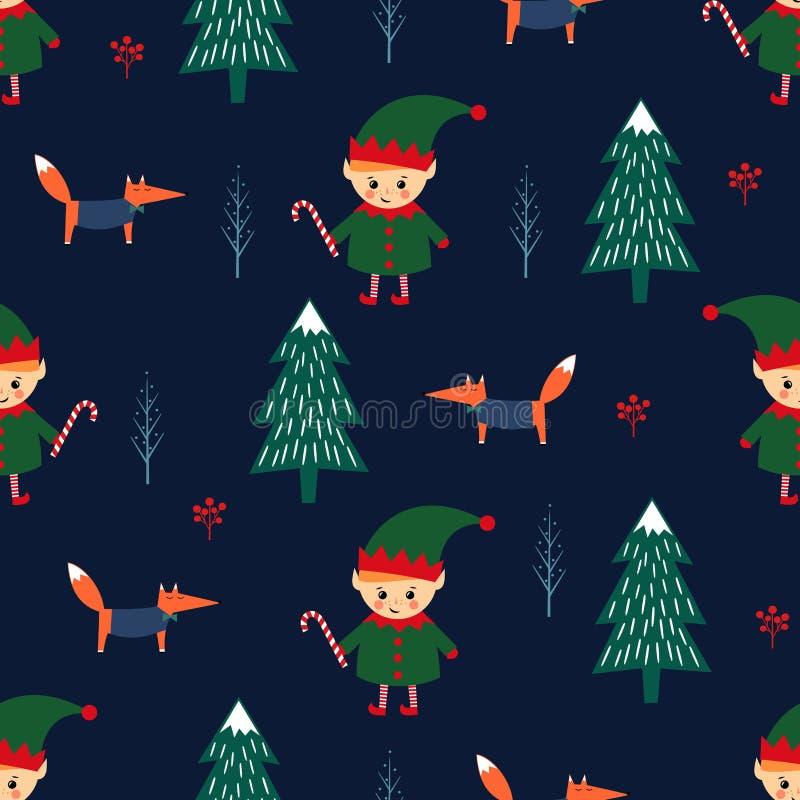 Kerstboom, elf met suikergoedriet en vos naadloos patroon op donkerblauwe achtergrond stock illustratie