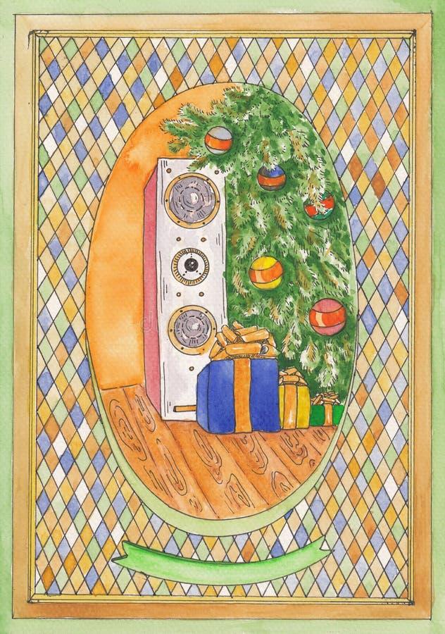 Kerstboom en akoestische sistem stock foto