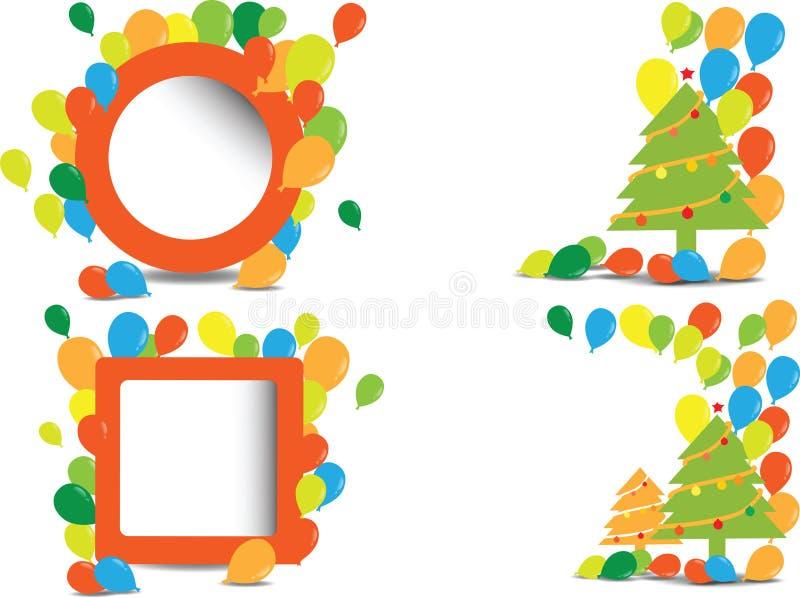 Kerstboom en blloons textuur vector illustratie