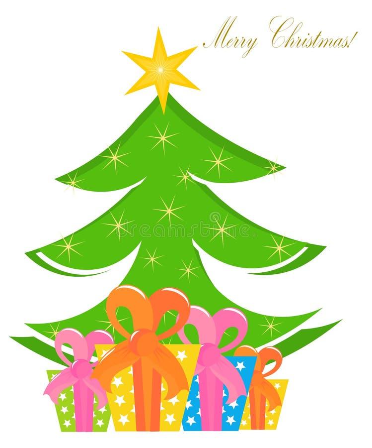 Kerstboom en dozen vector illustratie