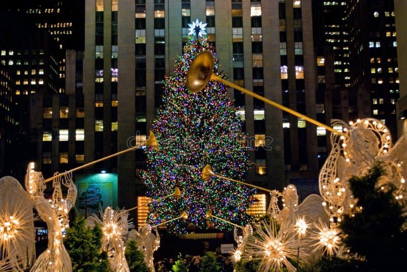 Kerstboom en Engelen stock fotografie