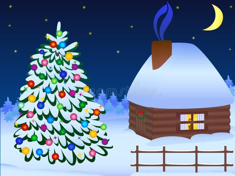 Kerstboom en huis royalty-vrije illustratie