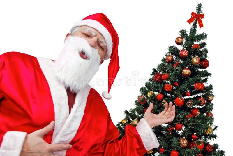 Kerstboom en Kerstman - Nadruk op xmastree royalty-vrije stock fotografie