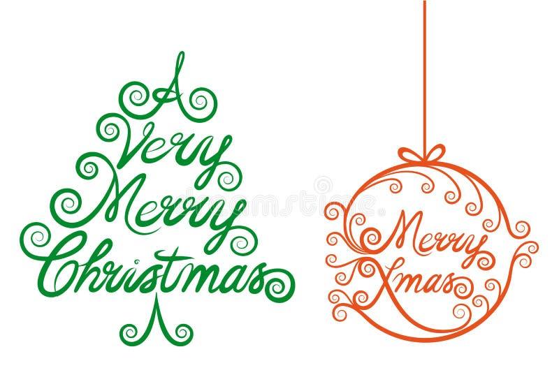Kerstboom en Kerstmisbal, vector vector illustratie