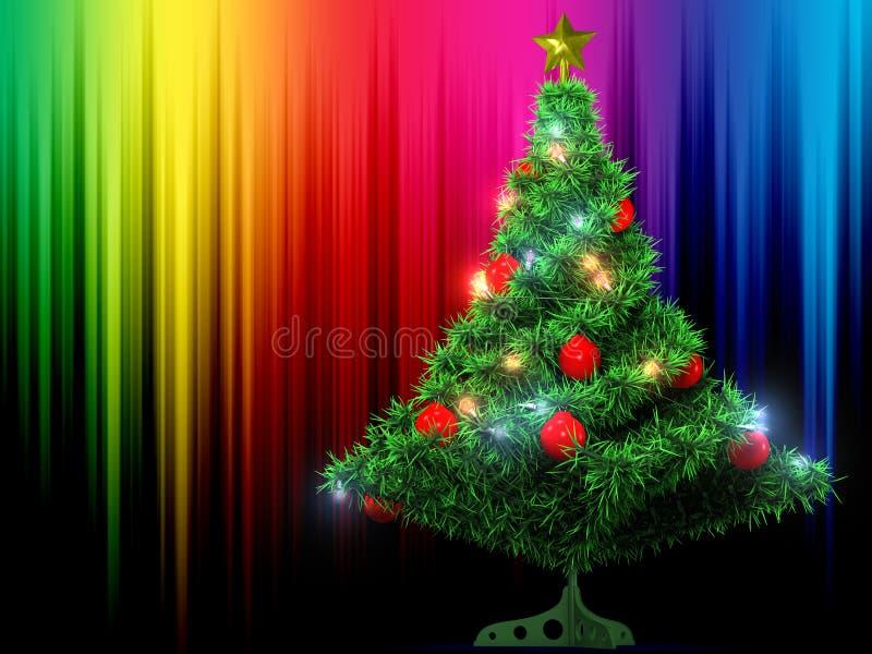 Kerstboom en kleurenachtergrond royalty-vrije illustratie