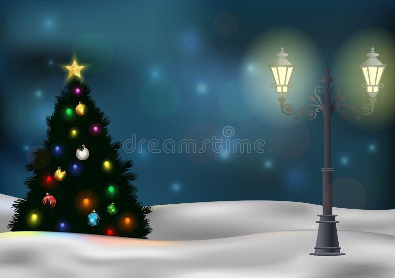 Kerstboom en lamppost op de winterachtergrond vector illustratie