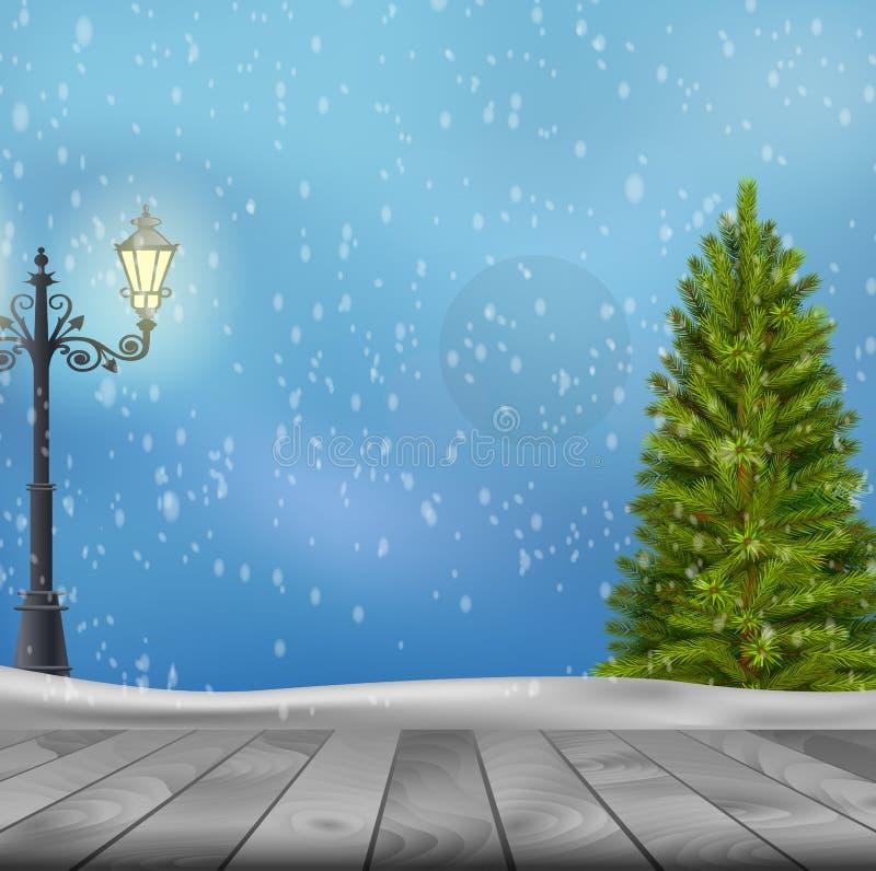 Kerstboom en lamppost op de winterachtergrond royalty-vrije illustratie