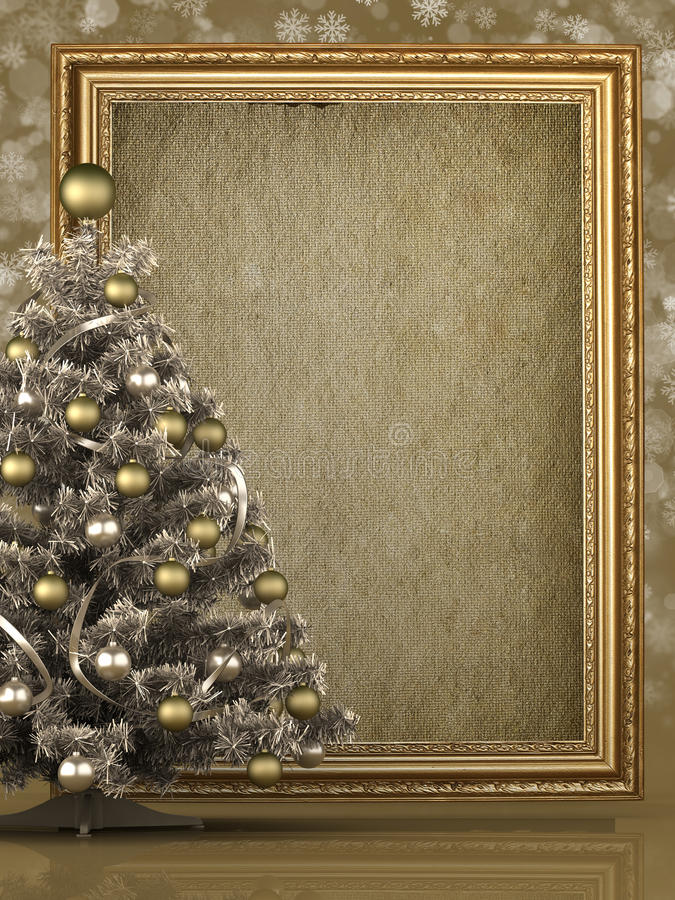 Kerstboom en leeg document blad stock illustratie