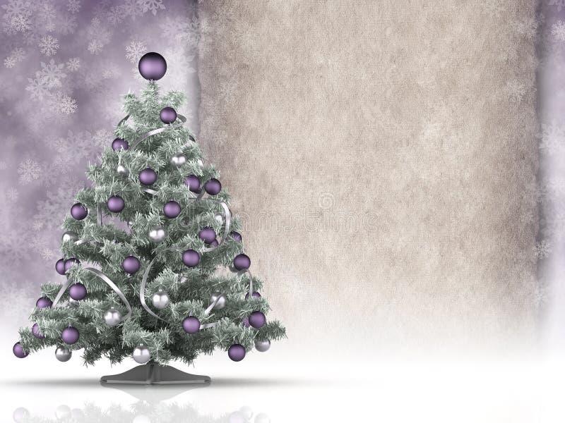 Kerstboom en leeg document blad vector illustratie