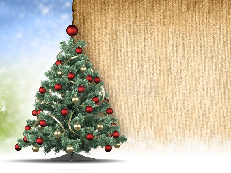 Kerstboom en leeg met de hand gemaakt document blad stock illustratie