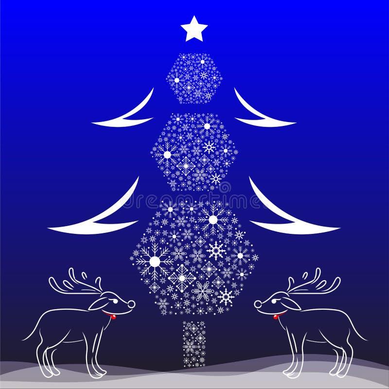 Kerstboom en rendiergeweitakken vectorkaart stock illustratie