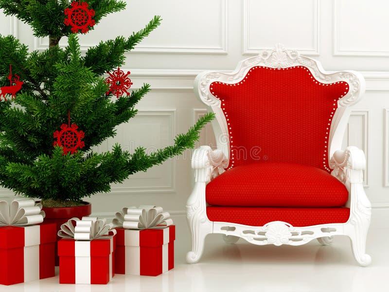 Kerstboom en rode leunstoel royalty-vrije stock afbeelding