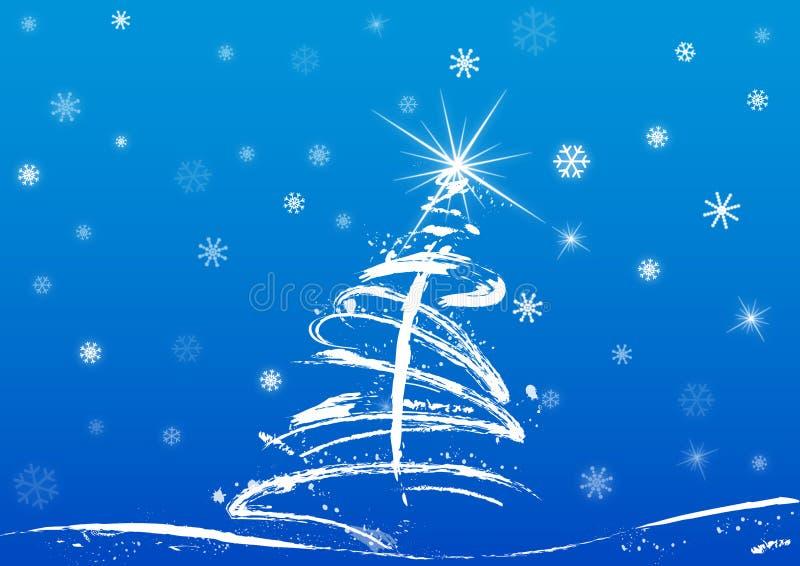 Kerstboom en sneeuw royalty-vrije illustratie