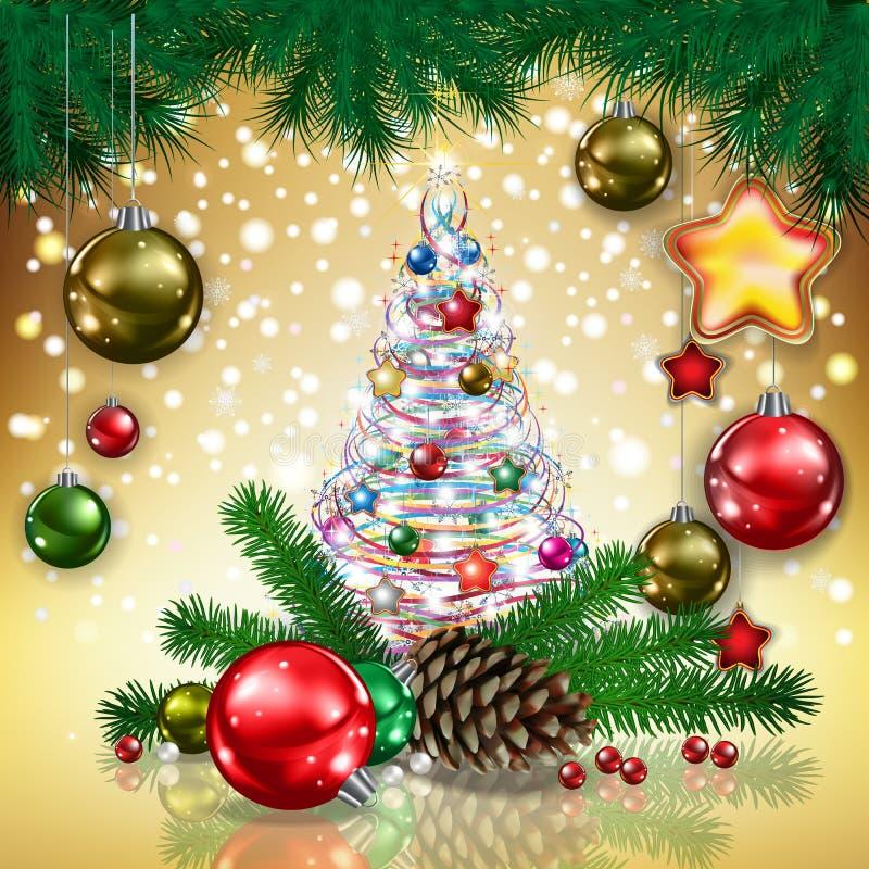 Kerstboom en snuisterijen royalty-vrije illustratie