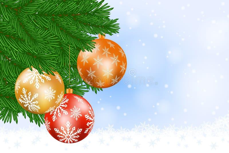 Kerstboom en snuisterijen vector illustratie