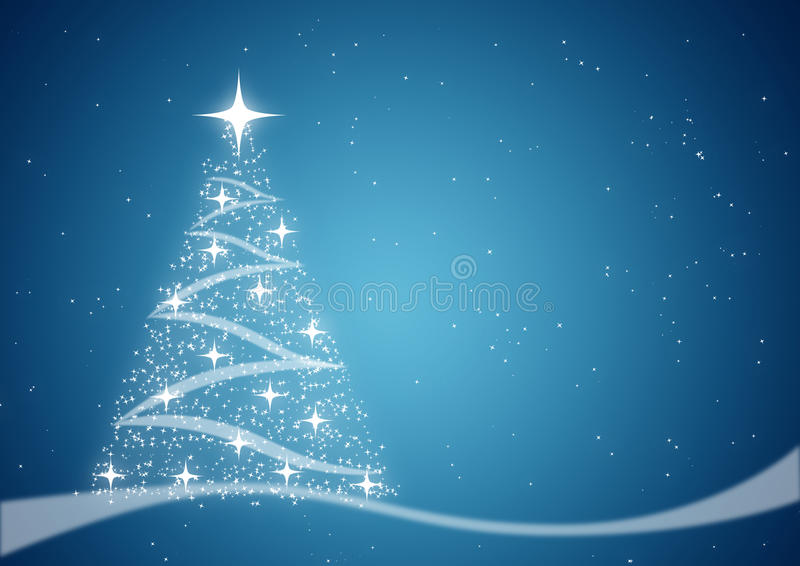 Kerstboom en sterren blauwe achtergrond stock fotografie