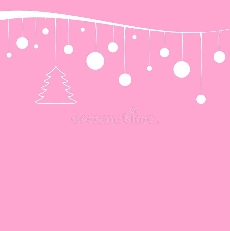 Kerstboom en witte ballen die op een wit lint hangen stock illustratie