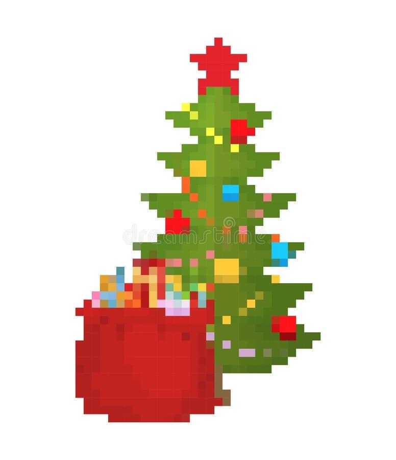 Kerstboom en zak het art. van het Kerstmanpixel Rode zak met 8 bits van speelgoed en snoepjes voor kinderen De Oude school van he stock illustratie