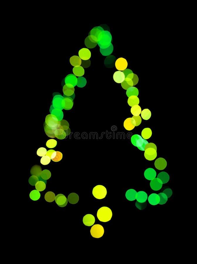 Kerstboom Gemaakte ââof Bokeh Lichten Stock Afbeeldingen